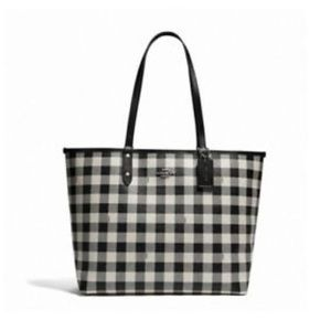 COACH Reversible City Tote Shoulder Bag Gingham